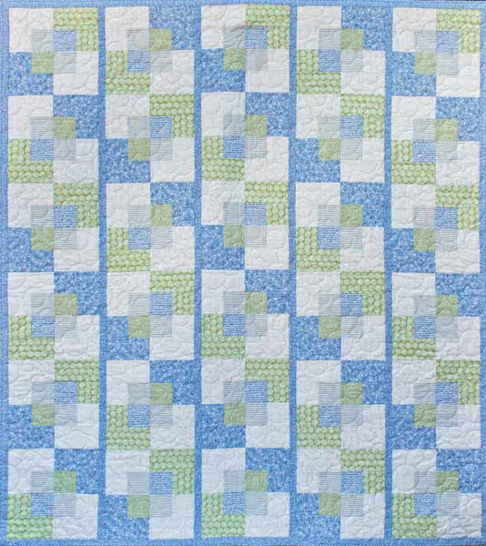 Stroll - a modern quilt in blues and greens from Urban Scandinavian fabrics by Kirstyn Cogan