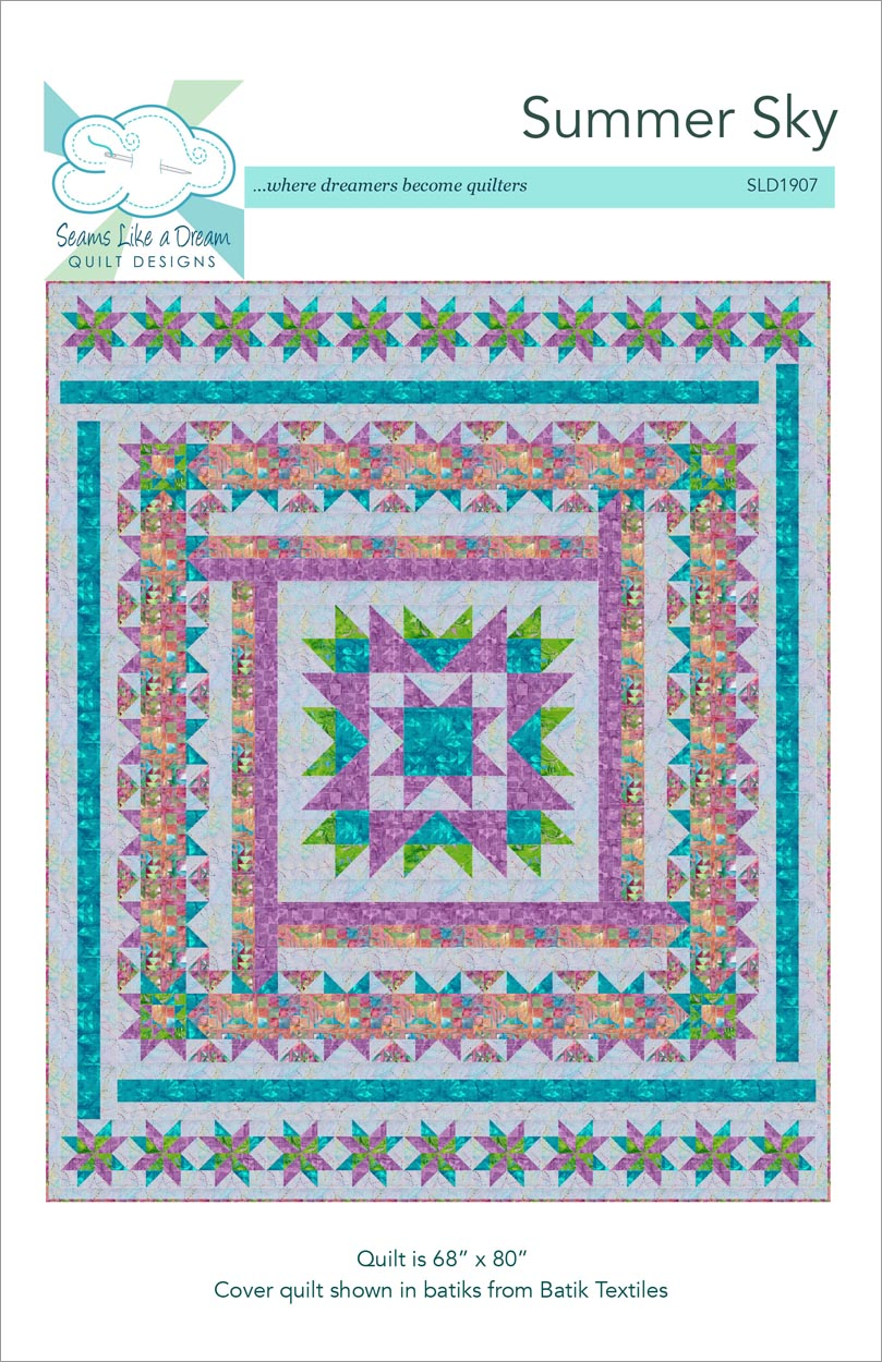 Summer Sky- a fun medallion style quilt with a large center star and fun strips of color.
