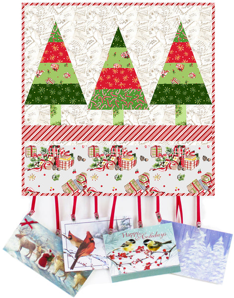 Tannenbaum Trio- Christmas card wall hanging in all the Trimmings fabric by Maywood
