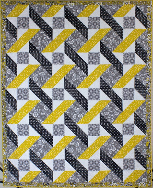 Urban Twist lap quilt in yellow and grey using Riley Blake's Parisian fabrics