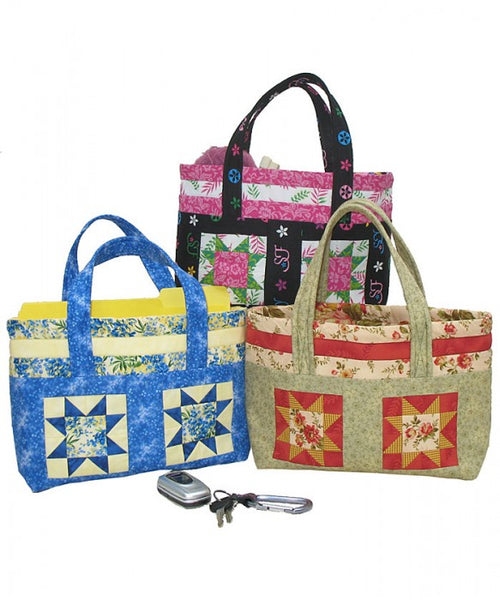 Four Star Tote- an easy tote bag made with Fat Quarters show in 3 fabric options