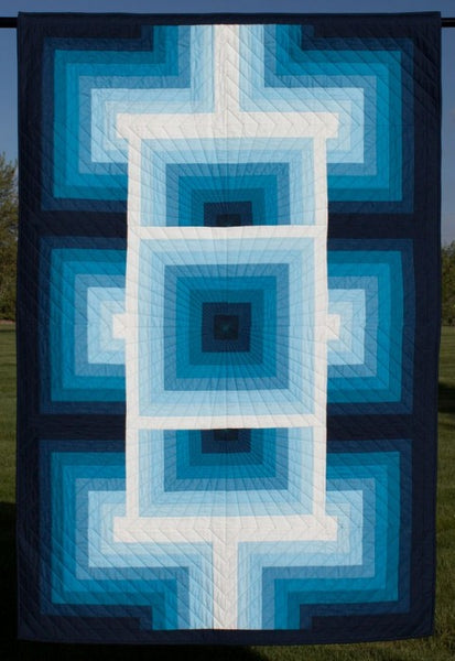 gRadiant- lap quilt in a gradient of blue fabrics