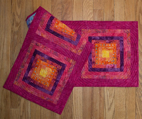 gRadiant table runner in bright pink and purple batik fabrics