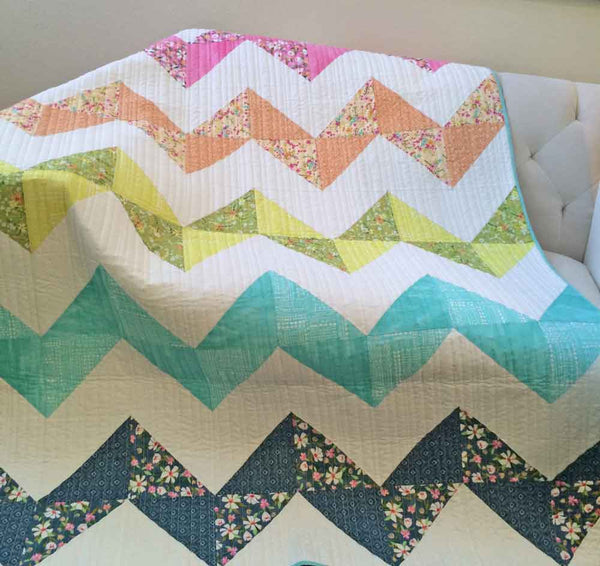 ZigZagNoli- fat quarter lap quilt in fun pastels