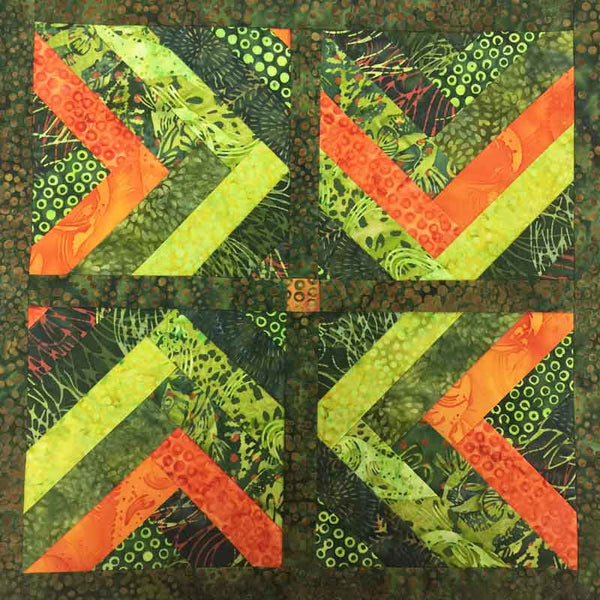 Two Step Mini quilt in green batiks
