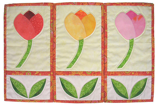 Tulip Trio- small appliqué banners in pinks, orange and green