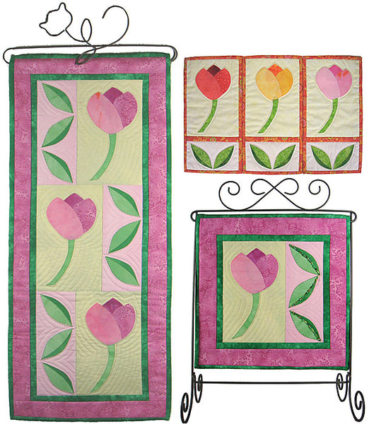 Tulip Trio- an appliqué banner in 3 sizes shown in pinks and green