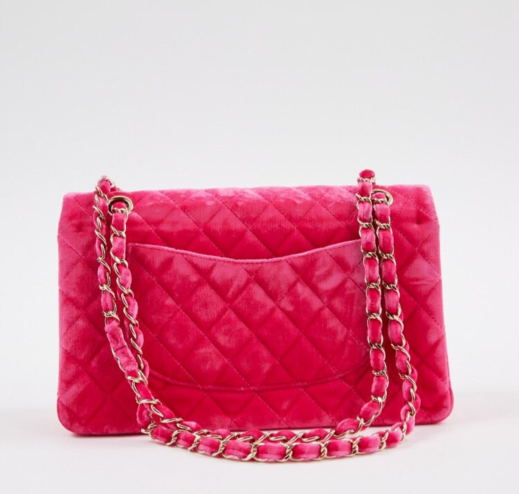 836205996b4a38 ... Load image into Gallery viewer, Pre-loved Chanel Neon Pink Timeless  Medium quilted velvet ...