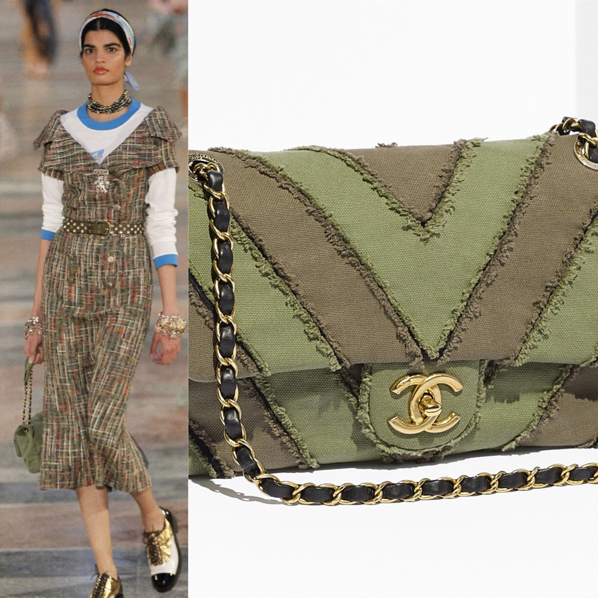 abbaa9ac3644 Load image into Gallery viewer, Preloved Chanel 2017 Coco Cuba Patchwork  Green Chevron Classic Canvas ...