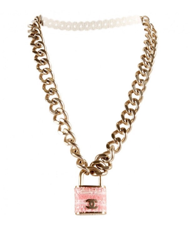 d1c919827debb0 ... Load image into Gallery viewer, Preloved Chanel oversized large Pink  Tweed Padlock necklace Gold Metal ...