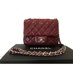 28f4a8eba887 Preloved Chanel Square Mini Burgundy Bordeaux Caviar Classic Timeless Flap  Bag Silver Hardware