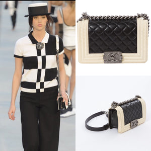 01bae3a63d8a Preloved Chanel 2012 resort cruise Ecru Ivory Black Quilted Small Boy Flap  Bag