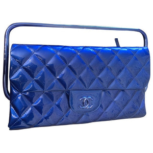 b9816a9c79c5 Preloved Chanel Spring 2014 RTW electric Blue patent leather Metal Top  Handle Clutch Flap Bag