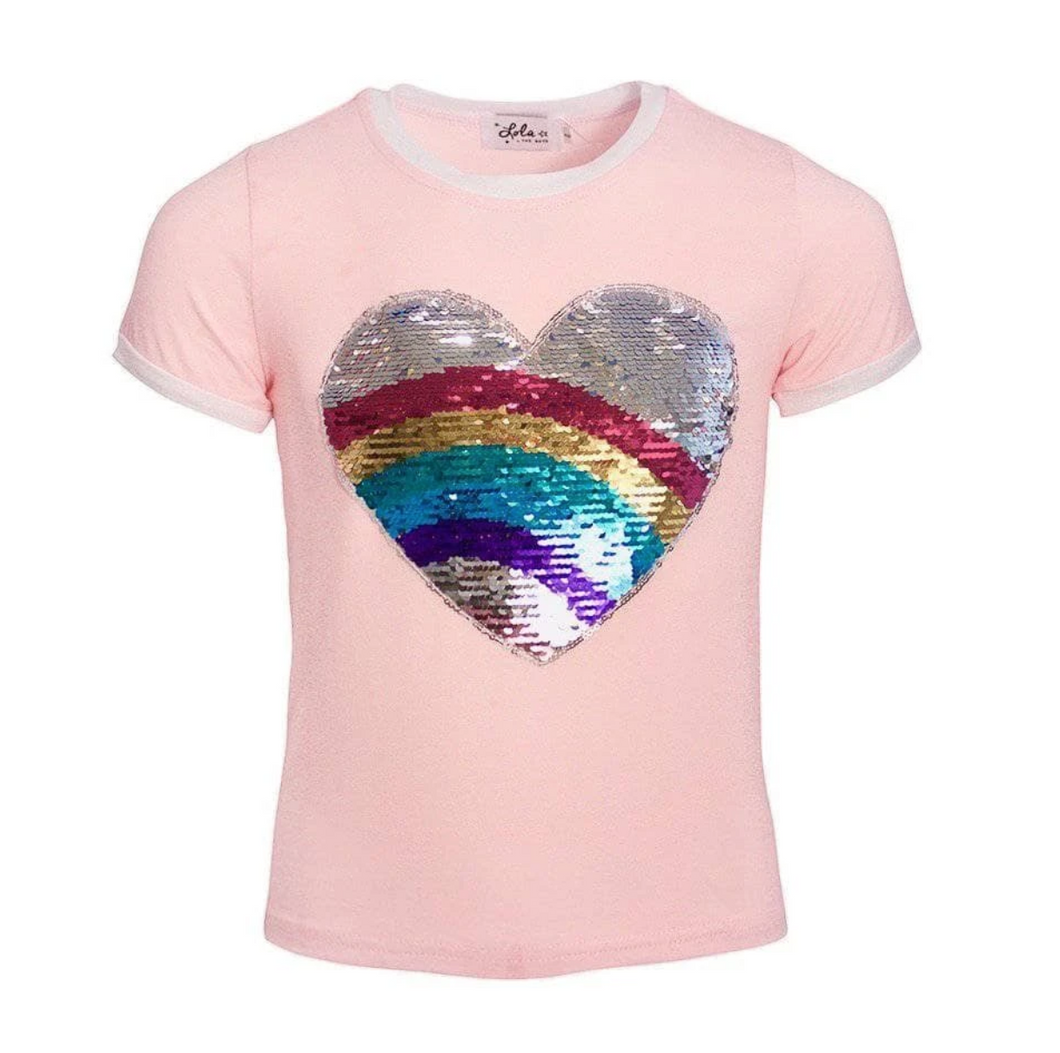 Lola & The Boys Rainbow Heart Flip Sequin Ringer T-Shirt