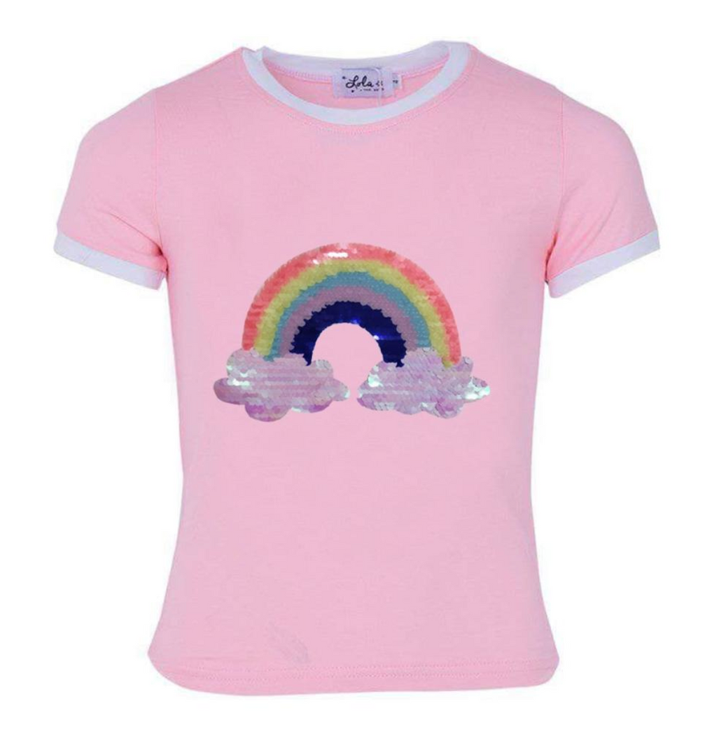 Lola & The Boys Happy Rainbow Ringer T Shirt