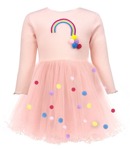 Lola & The Boys Rainbow & Pom Pom Dress