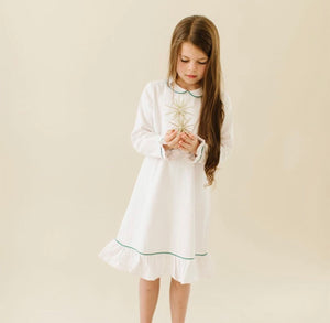 Petite Plume White w/ Green Piping Sophia Nightgown