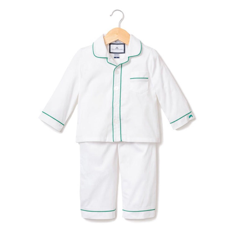 Petite Plume White Pajamas w/ Green Double Piping