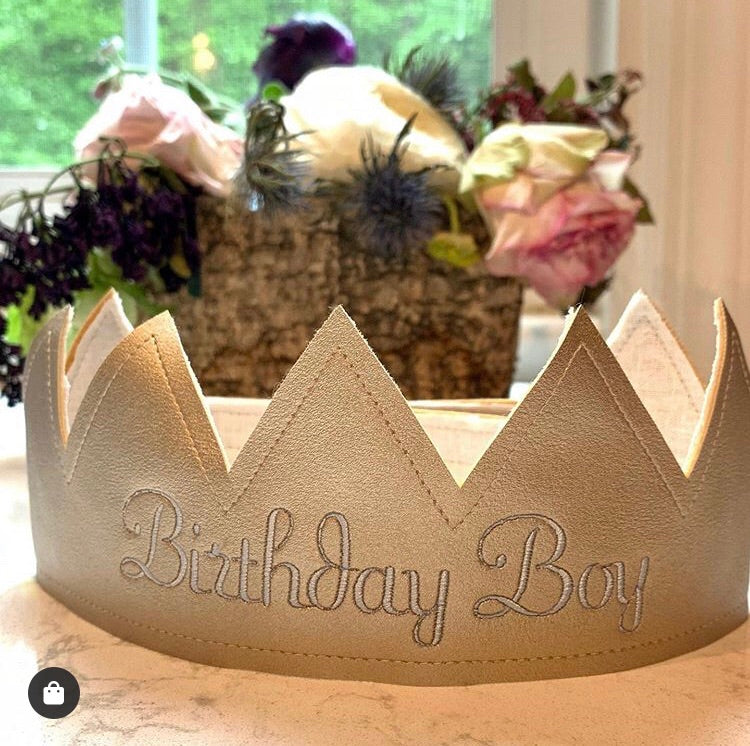 Alimrose Birthday Boy Embroidered Fabric Crown- Ivory Linen & Gold