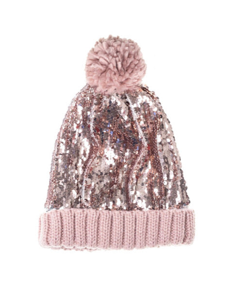 Rockahula Super Sequin Bobble Hat- Pink