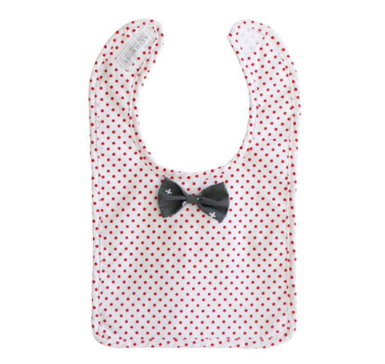 Alimrose Bow Tie Bib-Grey Red