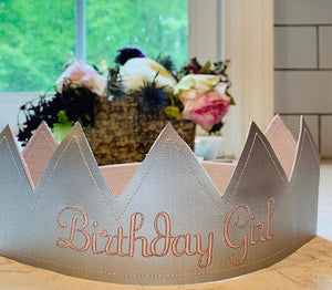 Alimrose Birthday Girl Embroidered Fabric Crown- Pink Linen & Silver