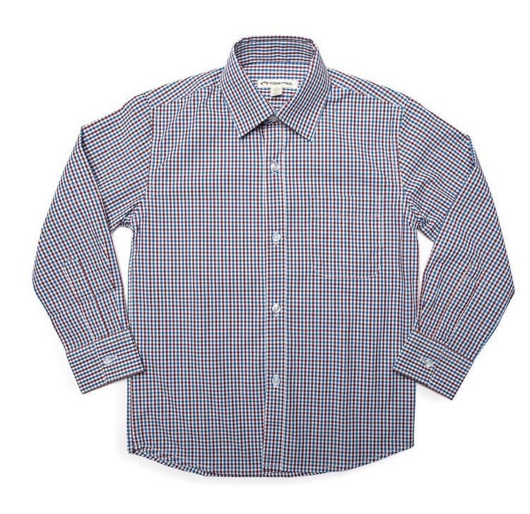 Appaman Burgundy/Blue Gingham Standard Shirt