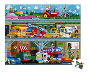 Janod Vehicles Puzzle 100pc