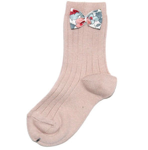 Rose Ankle Socks with Bow-Liberty Betsy Grey