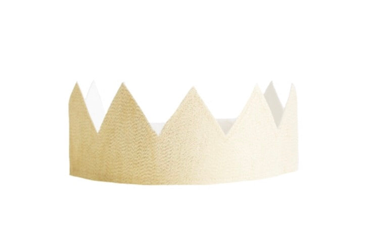Alimrose Fabric Reversible Crown- Ivory Linen & Gold