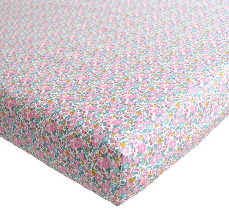 Crib Sheet-Liberty of London Betsy Ann Pink