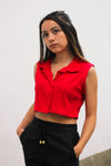 Button Up Crop