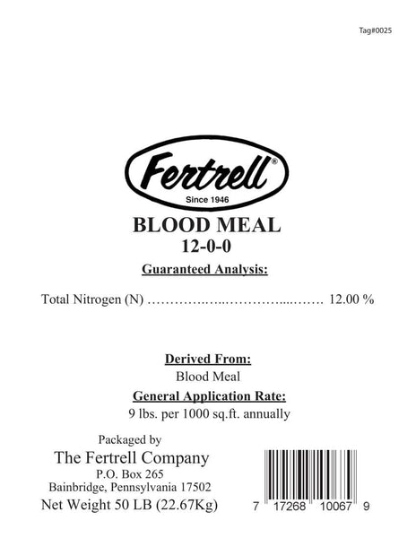 Fertrell Blood Meal 12-0-0 fertilizer label