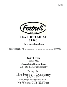 Feather Meal 13-0-0 usage label