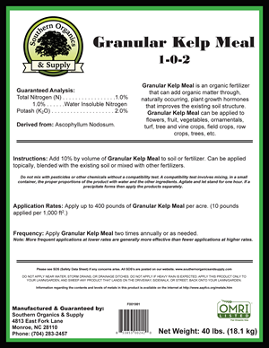 Granular Kelp meal 1-0-2 application rates and instructions.