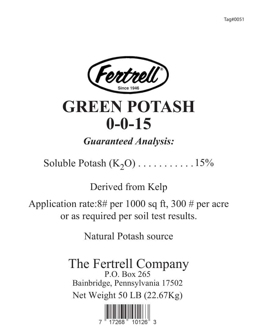 Fertrell Green Potash 0-0-15 label