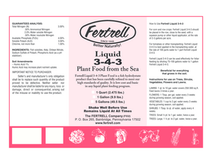 Fertrell Liquid  3-4-3 fertilizer with kelp, humates and fish label