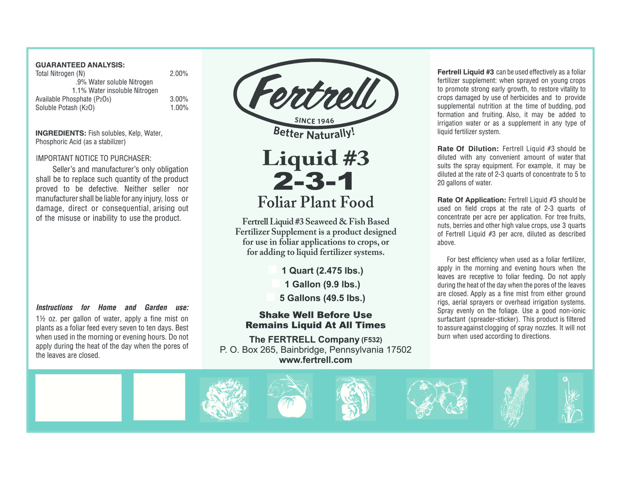 Liquid #3 2-3-1 fertilizer with Kelp and Fish label