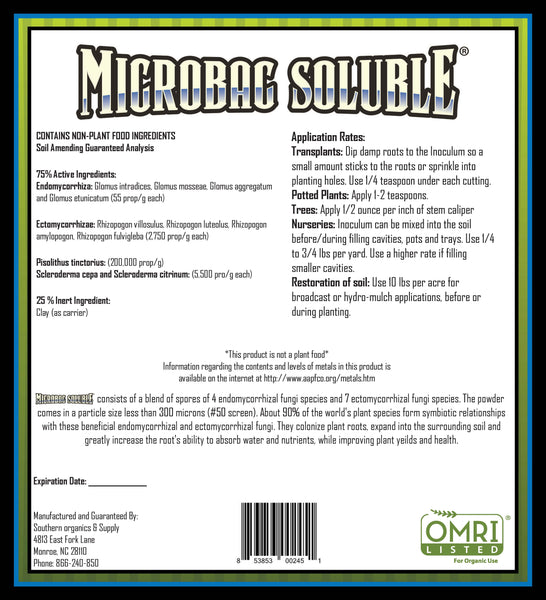 Microbac Soluble Mycorrhizae Label