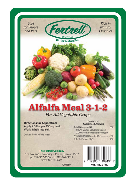 Fertrell alfalfa meal 3-1-2 fertilizer label