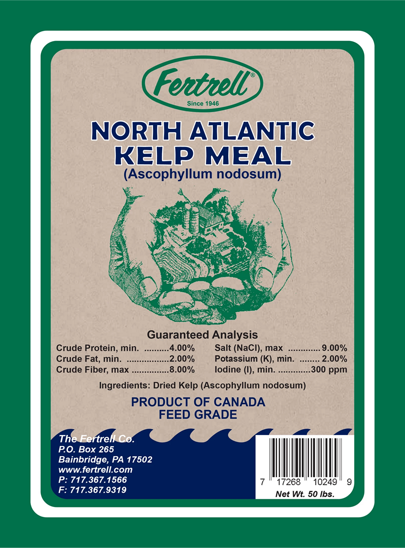 North Atlantic Kelp Meal Ascophyllum nodosum label