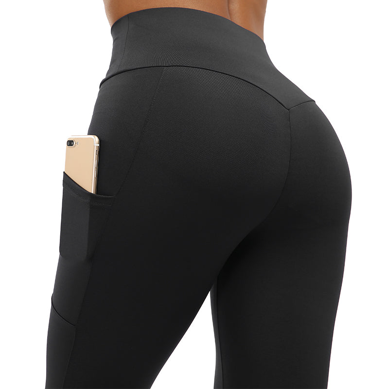 Wrinkled High Waist Fitness Leggings with Pockets