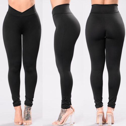Women Compression Fitness Pants - Solid Black Leggings