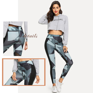 Geometric Pattern Elastic Waist Leggings