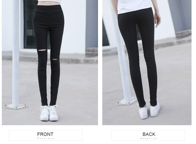 Ripped Holes Black High Waist Leggings