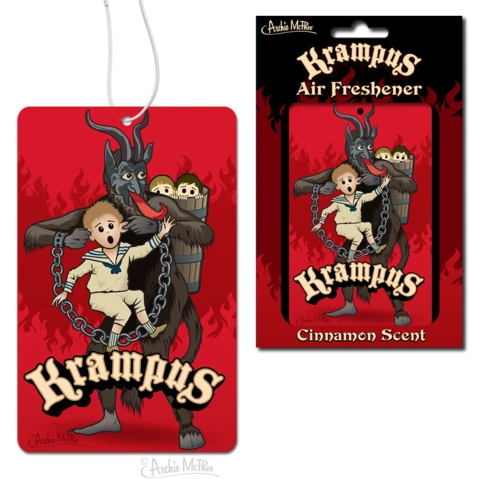 A paper air freshener with a white string. The image is a grey Krampus with two children in a bushel on his back and holding another child up by both his ears. There is an arc of lettering reading