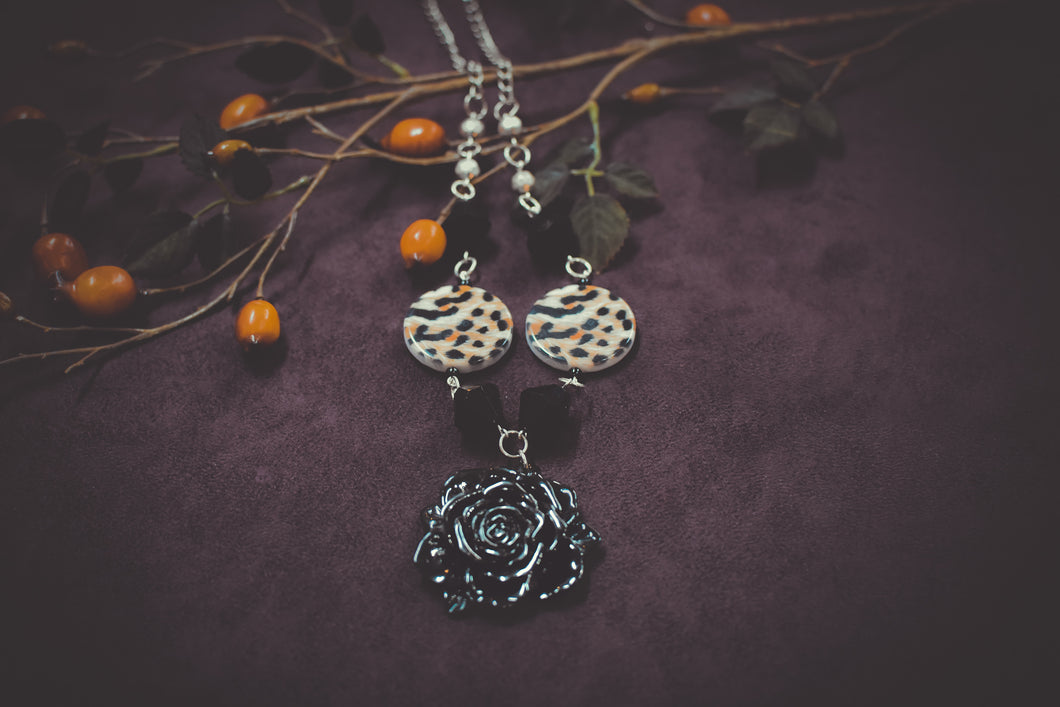 Roses and Leopard Necklace