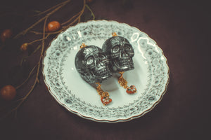 Skulls with Cloisonne Earrings