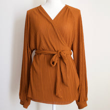 Load image into Gallery viewer, Zara Copper Wrap Around Blouse - L