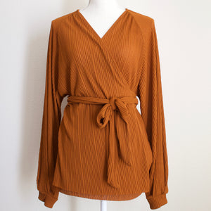 Zara Copper Wrap Around Blouse - L